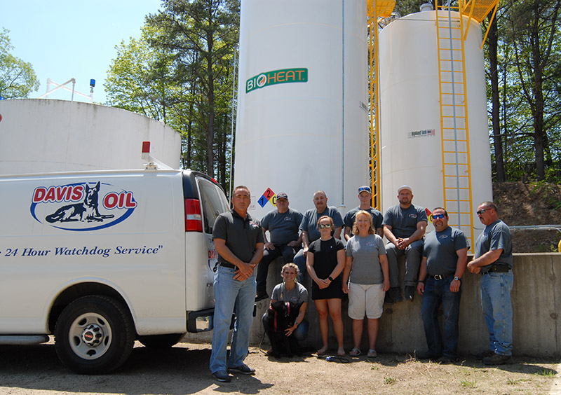 The Davis Oil team standing in front of the new Bioheat Plus holding tank