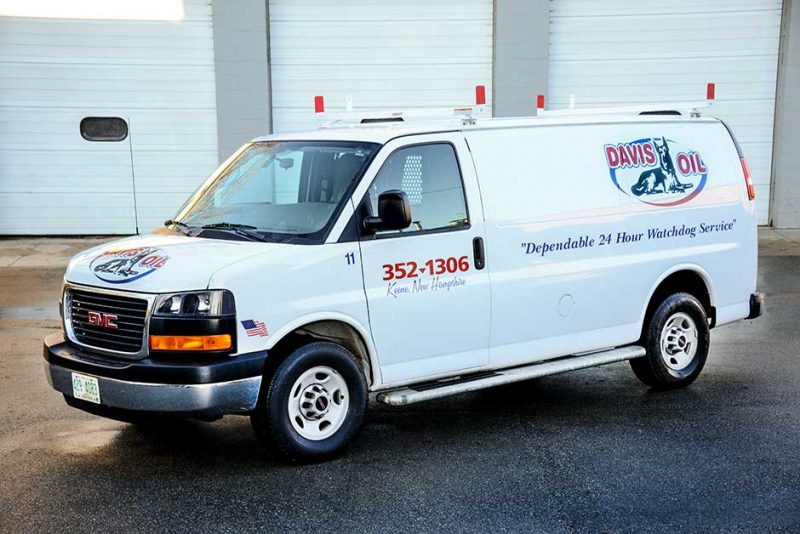 Davis Oil's White service van with red and blue lettering